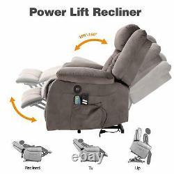 Power Lift Electric Massage Chair Recliner for Elder Armchair USB Velvet Brown