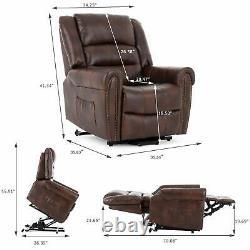 Power Lift Massage Recliner Chair Dual Motor Elderly Lay Flat Sleeper 3 Colors