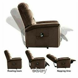 Power Lift Massage Recliner Chair Heat Vibration Fabric Sofa Lounge Seat Elderly