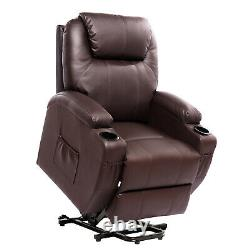 Power Lift Massage Recliner Chair for Elderly PU Leather Heated with Cup Holders