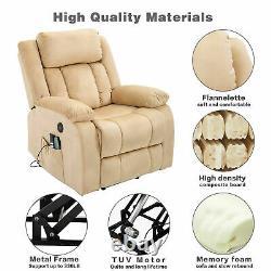 Power Lift Massage Recliner Chair with Adjustable Headrest, Heating System Beige