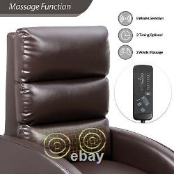 Power Lift Massage Recliner PU Leather Huge Thick Padded Sofa Seat with Remote