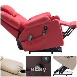 Power Lift Massage Recliner RC PU Leather Upholstery Cushions Cup Holders Indoor