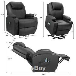 Power Lift Recliner Black Faux Leather massage functions heated remote control