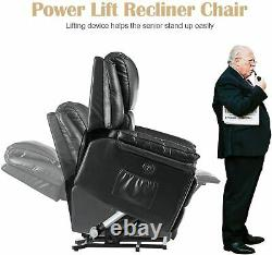 Power Lift Recliner Chair Elderly PU Leather Heated 5 Massage Modes USB Charge