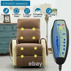 Power Lift Recliner Chair Elderly Sofa Big Back with Massage Heating Function
