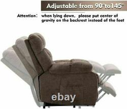 Power Lift Recliner Chair Eletric Heat Massage Fabric Lounge for Elderly Couch