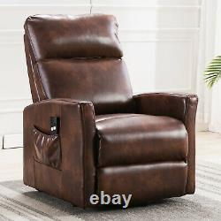 Power Lift Recliner Chair For Elderly Living Room Red Brown Faux Leather Chair