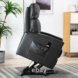 Power Lift Recliner Chair For Elderly Living Room Sofa Gray Faux Leather Chair
