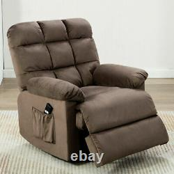 Power Lift Recliner Chair For Elderly Overstuffed Fabric Living Room Sofa WithRC