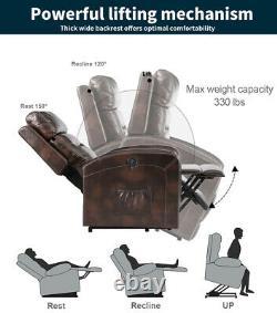 Power Lift Recliner Chair Heat Massage For Elderly Upgraded Motorized Sofa Brown