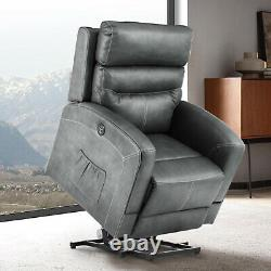 Power Lift Recliner Chair Heat Massage For Elderly Upgraded Motorized Sofa Gray