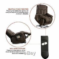 Power Lift Recliner Chair Overstuffed Bedroom Elderly Lounge Sofa Chocolate WithRC