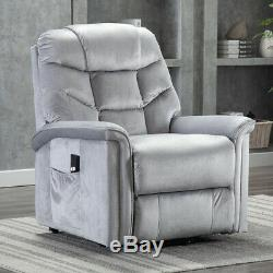 Power Lift Recliner Chair Overstuffed Sofa Waterproof Suede with RC for Elderly