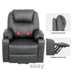 Power Lift Recliner Chair Single Sofa With Electric Vibration Massage Heat Remote