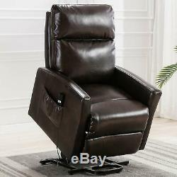 Power Lift Recliner Chair Sleeper Sofa Bed Heavy Duty Wide Seat PU Leather Seat