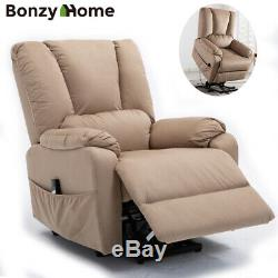 Power Lift Recliner Chair Sofa Padded Seat Armchair Lounge with RC For Elderly