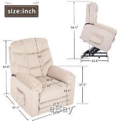 Power Lift Recliner Chair Soft Fabric Living Room Sofa Chair (Beige Fabric)
