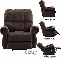 Power Lift Recliner Chair With Heat & Massage For Elderly Overstuffed Arms &Back