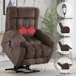 Power Lift Recliner Chair With Heat & Massage For Elderly Overstuffed Chair