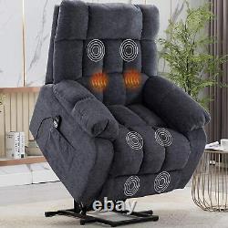 Power Lift Recliner Chair With Heat & Massage For Elderly Overstuffed Chair Blue