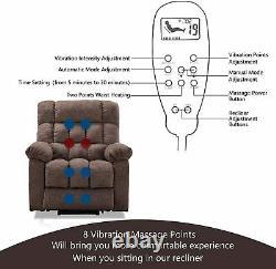 Power Lift Recliner Chair With Heat&Massage For Elderly Reclining OverstuffChair