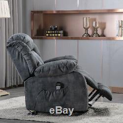Power Lift Recliner Chair With Massage Heat Vibration Elderly Lounge Sofa Gray