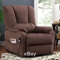 Power Lift Recliner Chair for Elderly Antiskid Fabric Sofa Living Room-Chocolate
