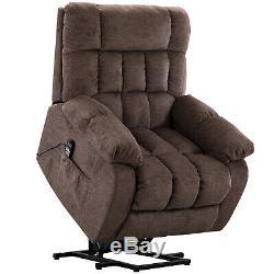 Power Lift Recliner Chair for Elderly with Heat & Massage Overstuffed Back Tan