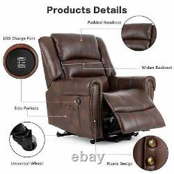 Power Lift Recliner Chair with Massage, Heat, Vibration, Side Pockets Brown
