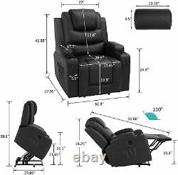 Power Lift Recliner Chair with Massage and Heat Electric Recliners for Elderly