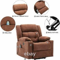 Power Lift Recliner For Elderly Electric Massage Heat Modern Fabric Lounge Sofa