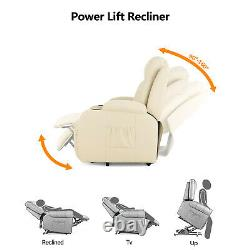 Power Lift Recliner Massage Chair with Heating System and Cup Holders Beige