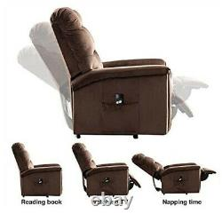 Power Lift Recliner Massage Sofa Chair Heat Vibration Lifting Padded Seat Brown