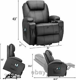 Power Lift Recliner PU Leather Elderly Massage Heating Cup Holders Side Pockets