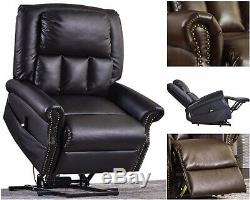 Power Lift Recliner PU Leather Upholstery Steel Frame Remote Control Oversize