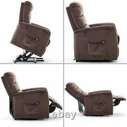 Power Lift Recliner Soft Fabric Adjustable Overstuffed Remote Control Brown