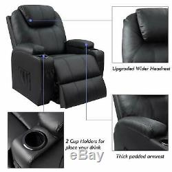 Power Lift Recliner With Massage And Heat Black Faux Leather Comfortable New