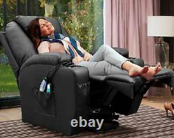 Power Lift Recliner with Massage and Heat, Black Faux Leather With Wired Remote
