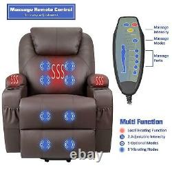 Power Lift Recliner with Massage and Heat, Brown Faux Leather