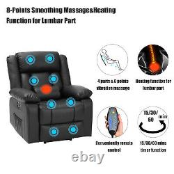 Power Lift Recliner with Massage and Heat Remote Control 2 Side Pockets USB Port