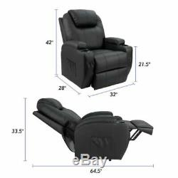 Power Lift Seat Recliner Massage And Heat Chair Armchair Padded, Walnew