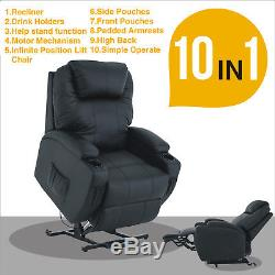 Power Lift Sofa Chair Recliner Armchair Real Leather Seat Elderly Chair Black