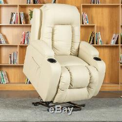Power Massage Lift Recliner Chair Armchair Sofa Leather Seat with Cup holder Beige