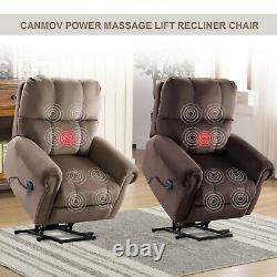 Power Massage Lift Recliner Chair With Heat Overstuffed Reclining Sofa For Elderly