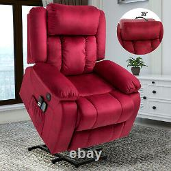 Power Massage Lift Recliner Chair with Adjustable Headrest Heating System Red