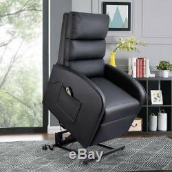 Power Recliner Chair Lift Massage Vibration Electric Leather Heat Elderly Black