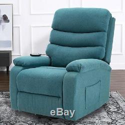 Power Recliner Massage Lift Chair Elderly Reclining Sofa With Heat Vibration Blue