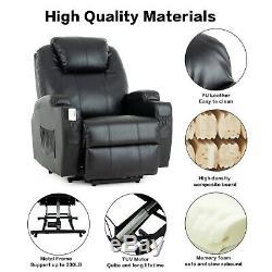 Power Reclining Massage Lift Chair Vibrating Heated Ergonomic Leather Sofa Black