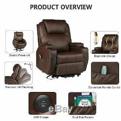 Recliner Chair Living Room Chair PU Leather Electric Power Lift with Massage USB